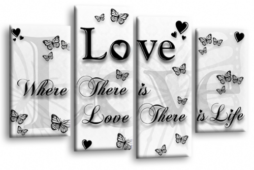 Love Quote Wall Art Print White Black Family Picture